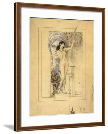 Preliminary Drawing for Allegory of Sculpture-Gustav Klimt-Framed Giclee Print