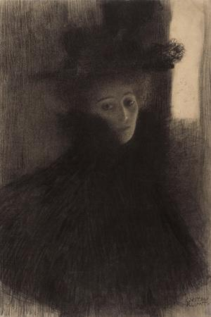 Portrait of a Lady with Cape and Hat-Gustav Klimt-Stretched Canvas Print