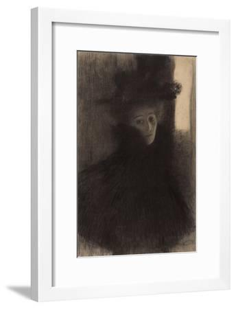 Portrait of a Lady with Cape and Hat-Gustav Klimt-Framed Giclee Print