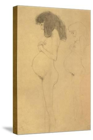 Standing Pregnant Woman in Profle-Gustav Klimt-Stretched Canvas Print