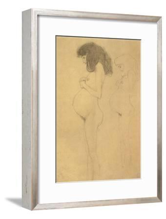 Standing Pregnant Woman in Profle-Gustav Klimt-Framed Giclee Print