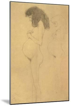 Standing Pregnant Woman in Profle-Gustav Klimt-Mounted Giclee Print