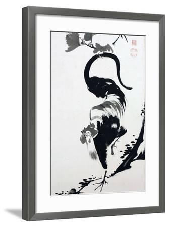 A Rooster Sumi on Paper-Jakuchu Ito-Framed Giclee Print