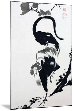 A Rooster Sumi on Paper-Jakuchu Ito-Mounted Giclee Print