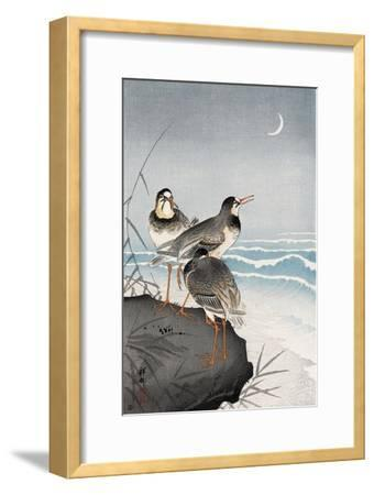 Three Plovers, Waves and Crescent Moon-Koson Ohara-Framed Giclee Print