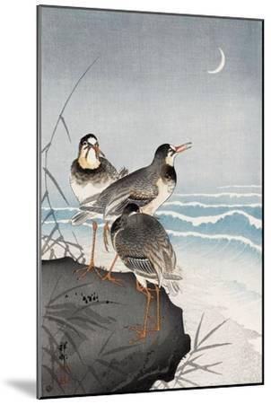 Three Plovers, Waves and Crescent Moon-Koson Ohara-Mounted Giclee Print