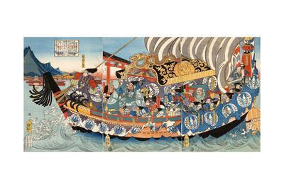 Chronicle of the Rise and Fall of the Minamoto and Taira Clans, Genpei Seisuiki-Yoshitsuya Utagawa-Framed Giclee Print