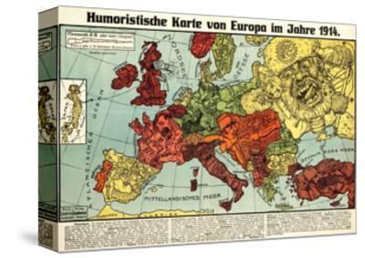 Satirical Map - Humoristische Karte Von Europa Im Jahre 1914-K. Lehmann-Dumont-Stretched Canvas Print