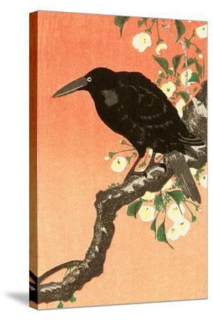Crow Against Orange Sky-Koson Ohara-Stretched Canvas Print