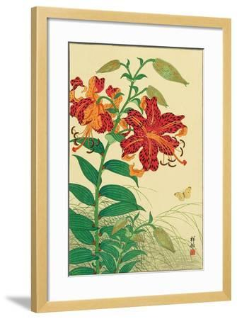 Tiger Lilies and Butterfly-Koson Ohara-Framed Giclee Print