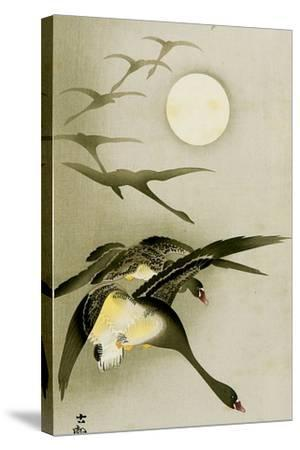 Geese and the Moon-Koson Ohara-Stretched Canvas Print