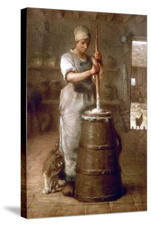 Churning Butter, 1866-1868-Jean-Fran?ois Millet-Stretched Canvas Print