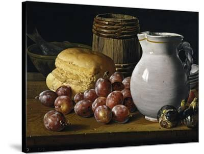 Still Life with Plums, Figs, Bread and Fish-Luis Egidio Mel?ndez-Stretched Canvas Print