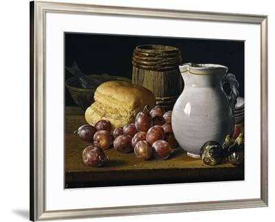 Still Life with Plums, Figs, Bread and Fish-Luis Egidio Mel?ndez-Framed Giclee Print
