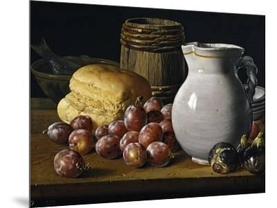 Still Life with Plums, Figs, Bread and Fish-Luis Egidio Mel?ndez-Mounted Giclee Print