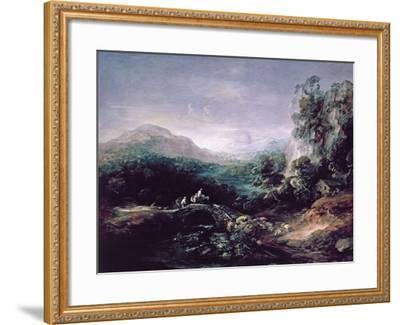 Landscape with Bridge-Thomas Gainsborough-Framed Giclee Print