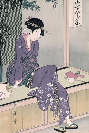 Mujer Sentada En Una Veranda, Ca. 1798-Kitagawa Utamaro-Stretched Canvas Print