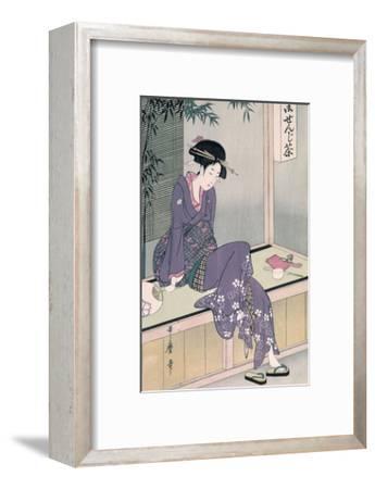 Mujer Sentada En Una Veranda, Ca. 1798-Kitagawa Utamaro-Framed Giclee Print