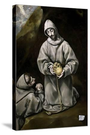 Saint Francis of Assisi and Brother Leo Meditating on Death, 1600-14-El Greco-Stretched Canvas Print