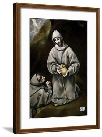 Saint Francis of Assisi and Brother Leo Meditating on Death, 1600-14-El Greco-Framed Giclee Print