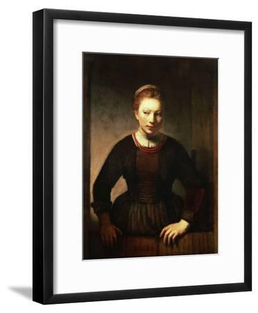 Young Girl At An Open Half Door 1645 Giclee Print By Rembrandt Van