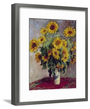 Still Life with Sunflowers, 1880-Claude Monet-Framed Giclee Print