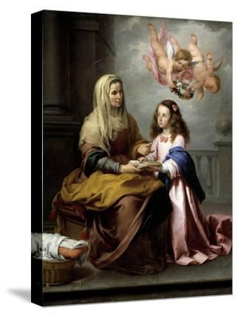 Saint Anne with the Virgin, Ca. 1655-Bartolome Esteban Murillo-Stretched Canvas Print