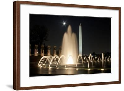 The Washington Monument Reflecting Off the Pool of the National World War Ii Memorial-Vickie Lewis-Framed Photographic Print