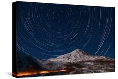 Star Trails Circling Polaris Above Mount Damavand, a Live Volcano, in Iran-Babak Tafreshi-Stretched Canvas Print