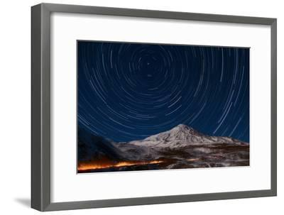 Star Trails Circling Polaris Above Mount Damavand, a Live Volcano, in Iran-Babak Tafreshi-Framed Photographic Print