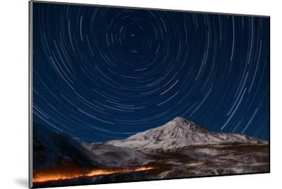 Star Trails Circling Polaris Above Mount Damavand, a Live Volcano, in Iran-Babak Tafreshi-Mounted Photographic Print