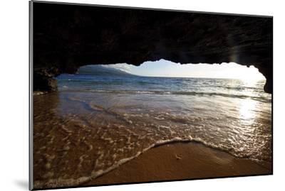 The Lip of a Foamy Wave Laps a Sandy Beach Inside an Ocean Cave-Jason Edwards-Mounted Premium Photographic Print
