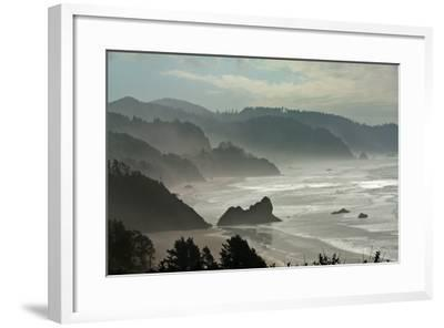 Fog Rolls onto the Rocky, Hilly Coastline-Vickie Lewis-Framed Photographic Print