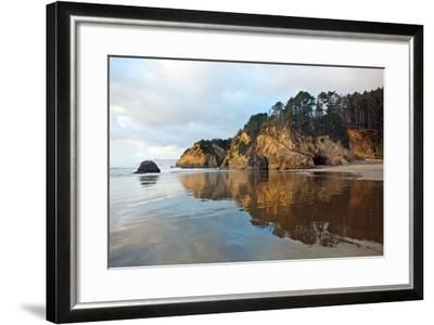 The Wet Sand on a Beach at Oregon's Hug Point-Vickie Lewis-Framed Photographic Print