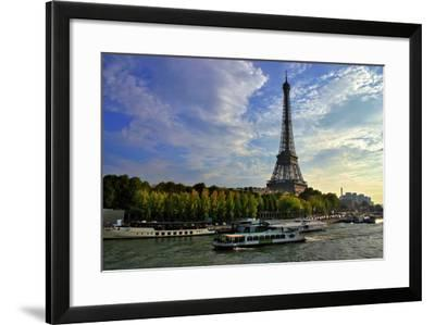 A Scenic View of the Eiffel Tower and a Ferry in the Seine River-Babak Tafreshi-Framed Photographic Print