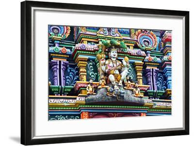 An Intricate Colorful Statue of Shiva at a Hindu Temple-Jason Edwards-Framed Photographic Print