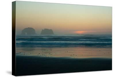 The Light of Sunset Reflects on Shallow Pacific Waters at Twin Rocks-Vickie Lewis-Stretched Canvas Print