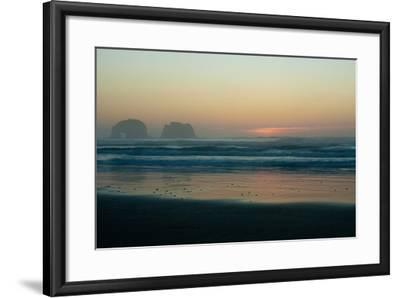The Light of Sunset Reflects on Shallow Pacific Waters at Twin Rocks-Vickie Lewis-Framed Photographic Print