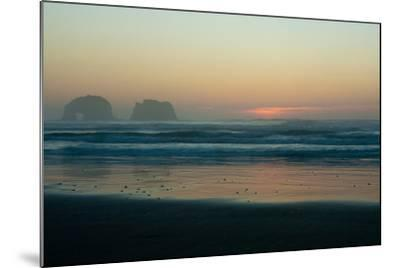 The Light of Sunset Reflects on Shallow Pacific Waters at Twin Rocks-Vickie Lewis-Mounted Photographic Print