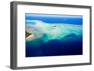 Coral Reefs Stretch Out from the Shoreline of a Tropical Island-Jason Edwards-Framed Photographic Print
