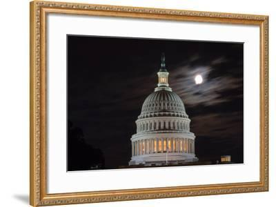 The Full Moon Hangs over the United States Capitol-Vickie Lewis-Framed Photographic Print