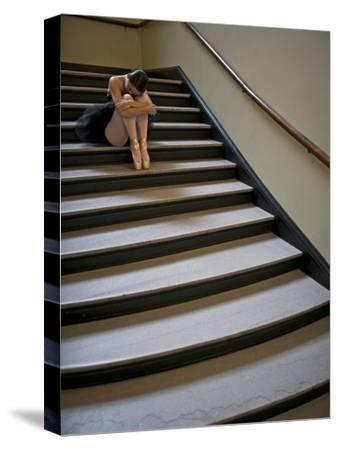 A Ballerina Resting in a Stairwell-Kike Calvo-Stretched Canvas Print