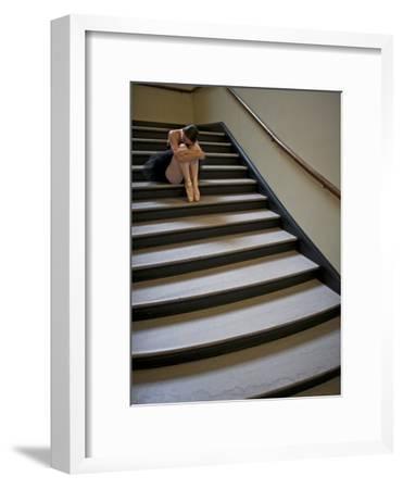 A Ballerina Resting in a Stairwell-Kike Calvo-Framed Premium Photographic Print