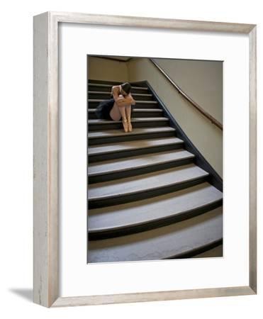 A Ballerina Resting in a Stairwell-Kike Calvo-Framed Photographic Print