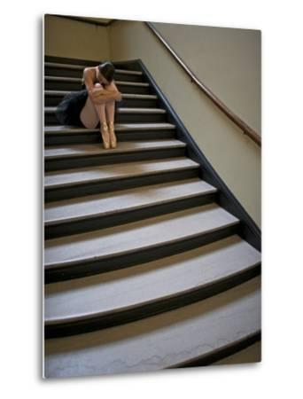 A Ballerina Resting in a Stairwell-Kike Calvo-Metal Print