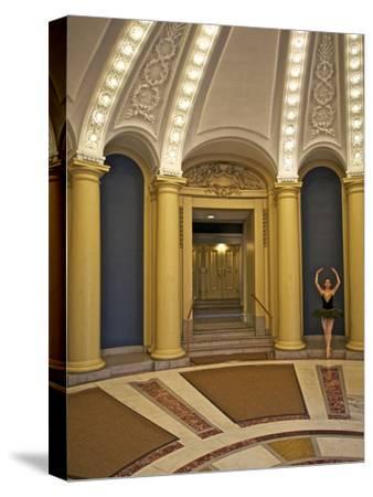 Classic Ballerina Dancing in a Rotunda-Kike Calvo-Stretched Canvas Print