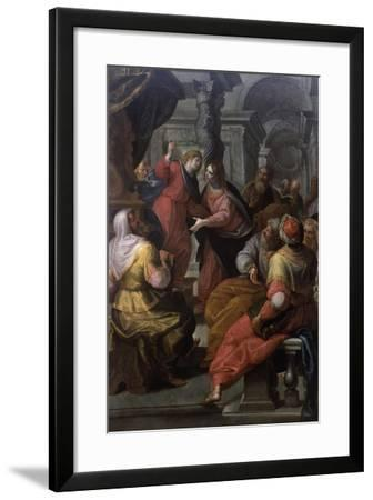Jesus Preaching to The Doctors-Giovanni Andrea Ansaldo-Framed Art Print
