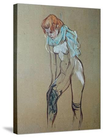 Naked Woman Putting a Stocking On-Henri de Toulouse-Lautrec-Stretched Canvas Print