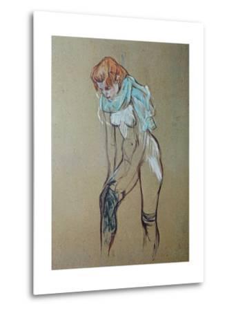 Naked Woman Putting a Stocking On-Henri de Toulouse-Lautrec-Metal Print