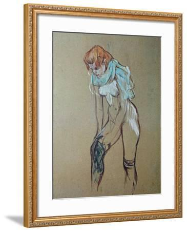 Naked Woman Putting a Stocking On-Henri de Toulouse-Lautrec-Framed Art Print